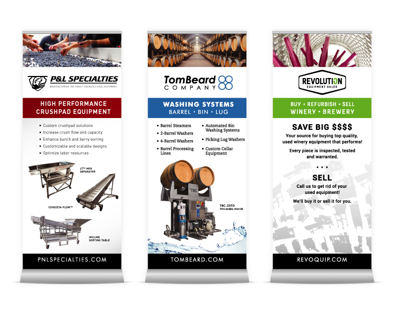 P&L Specialites, Tom Beard, Revolution Equipment Pull-up Banners | Tradeshow & Banners